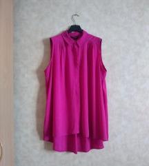 Fuchsia pink lezerna oversize kosulja haljina
