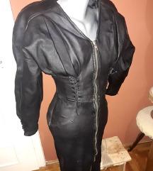 Haljina od prave kože sa puf rukavima