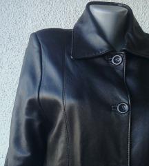 crna kožna duža jakna br 40 VIAVITO