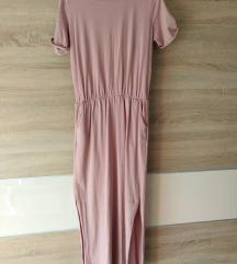 Roza pamučna midi haljina