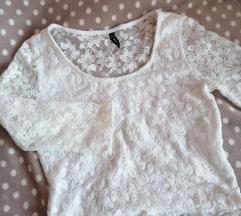 Crop top majica bela cipka