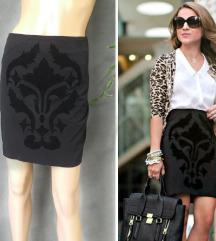 H&M pencil suknja sa plisanim motivom