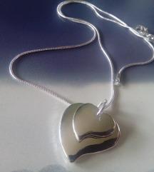 Lancic sa priveskom duplo srce zig 925