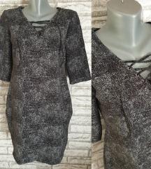 NOVA Siva haljina sa pertlanjem