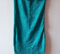 Tamno zelena top haljina sa karnerima