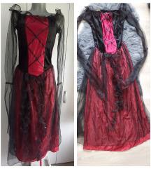 Gotik haljina bordo crna sa tilom