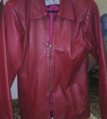 Kozna jakna bordo crvena 38 vel.