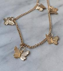 NOVO zlatna coker ogrlica leptir