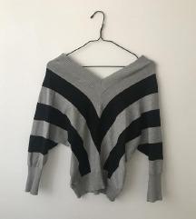 Džemper na V izrez, prugasti