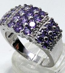 Srebrni prsten,AMETIST,prirodan kamen,NOV