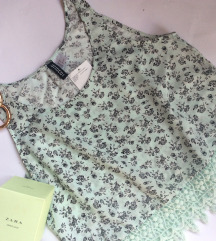H&M boho mint top sa cipkom
