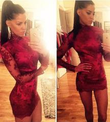 Diline haljina bordo/čipka