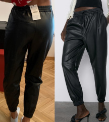 Zara novo S faux leather jogging trousers