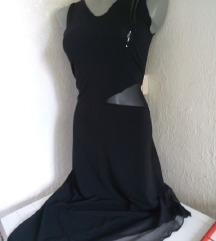 Crna neravna prozirnog struka haljina M/L