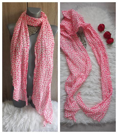 Velika marama bela sa roze zvezdicama