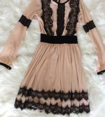 Nude haljina sa crnom cipkom