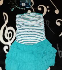 Plavi komplet - nakit i haljina za plažu S