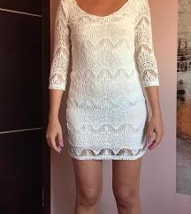 Bela čipksta haljina S