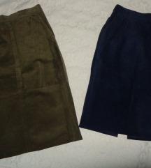 Dve kozne suknje - maslinasta prodata