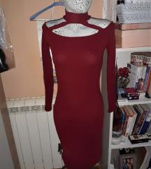 Bordo haljina rebrasti pamuk