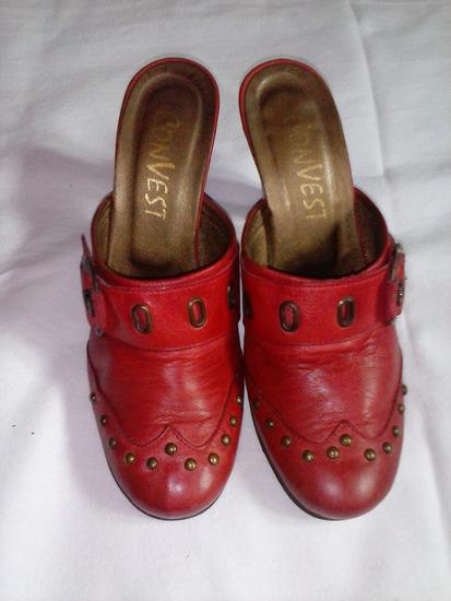 Crvene papuce prava koza 23.5cm