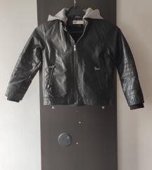 Debela jakna od veštačke kože, crna