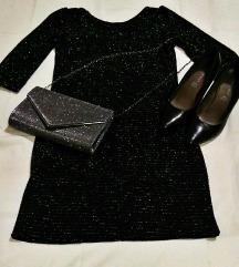 Crna haljina sa srebrnim nitima!