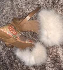 Esprit kozne sandale sa krznom