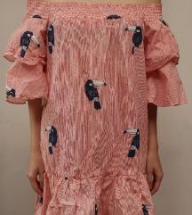 Letnja pamučna haljinica sa printom papagaja