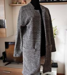 Lindex crno- beli mantil sa ruskom kragnom, vel. S