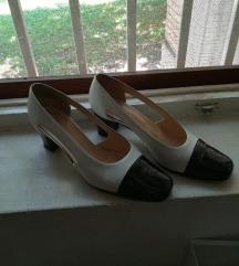 Elegantne Crno-bele italijanske sandal-cipele