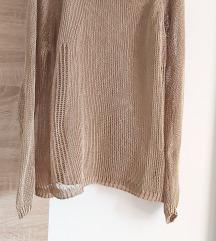 Zara knit zlatno kamel dzemper heklano M