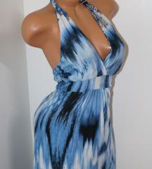 Italijanska plava duga haljina Vel.S/M