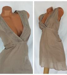 VERO MODA ✿ nežna, prozirna pamučna mocca haljina