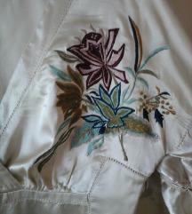 Elegantna boho majica svila/saten boje sampanjca