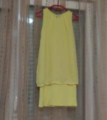 Žuta svilenkasta haljina