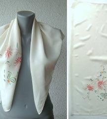 marama svilena sa vezom 78x69 cm