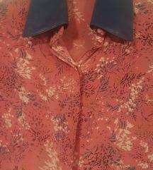Svilena bluza sa koznom kragnom