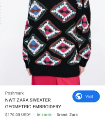 *ZARA* LIMITED EMBROIDERED OVERSIZED SWEATER