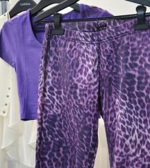 Purple leopard pantalone
