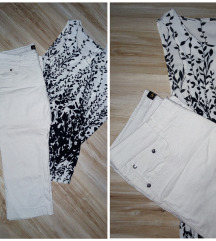 Bele tri cetvrt pantalone + poklon