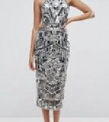 ASOS srebrna metalik haljina