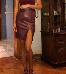 Bordo suknja faux leather