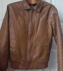 Muška kožna jakna braon S
