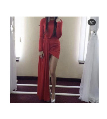Crvena elegantna saten haljina