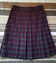 Karirana plisirana bordo suknja vel L i jaci M