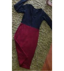 Crno crvena haljina uz telo.