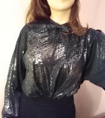 Crna bluza dugih rukava sa srebrnim printom
