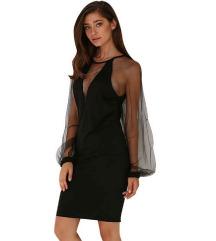 Crna haljina sa puf rukavima od tila
