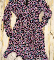NOVO! Lila cvetna haljina orsay